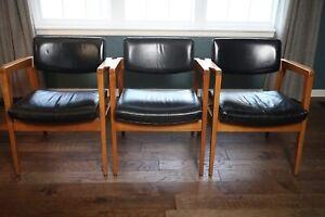 Set Of 3 Vintage Gunlocke MCM Mid-Century Chairs 1960's Walnut 2327USB