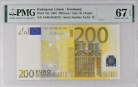 Euro 200 Euro 2002 P 19 X Germany Superb GEM UNC PMG 67 EPQ S/N X04914446222