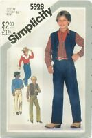 Simplicity 5528 BOYS Western Shirt Jeans Lined Vest Pattern 1982 UNCUT FF NOS