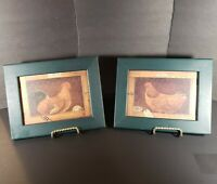 "Pair Of Green Framed Rooster Prints Wall Art 9"" X 7"""
