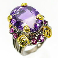 Discount Sale Jewelry Natural Amethyst 925 Sterling Silver Ring Size 8.5/R83677