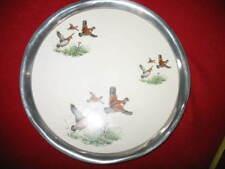 "Vintage Revere Pewter & Porcelein 13"" Hound & Quails Round Serving Tray"