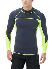 TSLA Men's UPF 50+ Long Sleeve Rash Guard, UV/SPF Quick Dry Swim Shirt