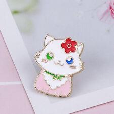 White Kitten Kawaii Cartoon Brooch G Girl Cute Cat Brooches Enamel Pin Pink