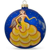 Princess with Flower Glass Ball Christmas Ornament 4 Inches