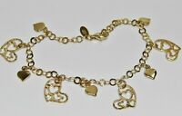 9ct Yellow Gold on Silver Heart Bracelet - 7.5 INCH