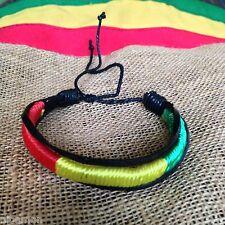Rasta Leather Wrist Bracelet Threaded Cuff  Hawaii Surfer Irie Reggae Marley RGY