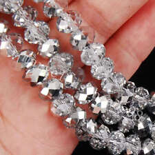 Wholesale 98Pcs New Faceted Crystal Loose Silver white Beads 4*6mm