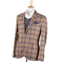 NWT $950 L.B.M. 1911 Tan-Sky Blue Check Mid-Weight Flannel Wool Sport Coat 42 R