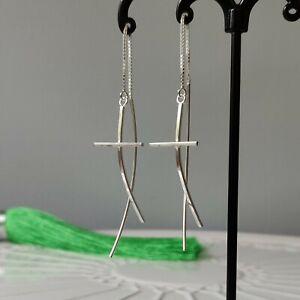 Solid 925 Sterling Silver Cross Sticks Pull Through Threader Earrings