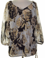 Blouse Top 1X Plus INC $70 NWT Black Gold Floral Wide Sleeve with Cami Set MC780