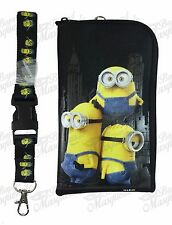 Minions Lanyard Zipper Wallet & ID Pouch Holder - Black