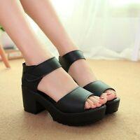 Women Summer Chunky Heel Platform Peep Toe  Preppy Sandals Shoes Pumps