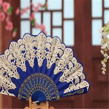 Fashion Spanish Style Dance Party Wedding Lace Silk Folding Hand Held Flower Fan