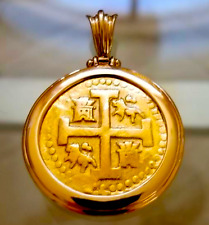 PERU 1722 8 ESCUDOS PIRATE GOLD COINS TREASURE PENDANT FLEET COB COIN JEWELRY
