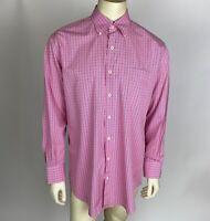 Peter Millar Mens Dress Shirt Pink Blue Check Seaside Button Down Size L