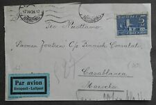 Finland 1938 Cover Front Side Cut, Helsinki-Morocco, 5M stamp, used