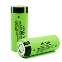 2X Panasonic 26650A 3.7V 5000mAh High Capacity Li-ion Rechargeable Battery