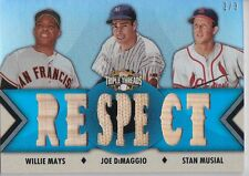 MAYS, DIMAGGIO, MUSIAL 2012 Topps Triple Threads Relic Combos Platinum #'d 2/3