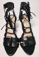 Loeffler Randall Women's Black Leather Heels Sandals! Size 7.5