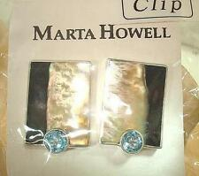 Marta Howell STER Silver BlackLip Mother of Pearl Blue Topaz Clip-On Earrings #1