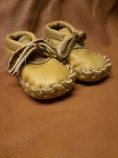 Buffalo Baby moccasins, New Born to 6 Months, Size 2 Indian Bison Leather beaded