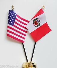 United States of America & Peru Double Friendship Table Flag Set