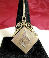 "Locket Pendant Necklace 20"" Long Antique Gold Filled Masonic Photo"