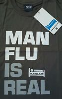 Plain Lazy T-Shirt  Mens Man Flu Grey Short Sleeve Size Small MAN FLU IS REAL
