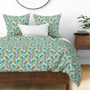 Spring Abstract Watercolor Ikat Pattern Easter Sateen Duvet Cover by Roostery