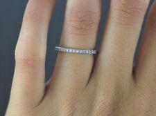 Agw 14K Oro Blanco Redondo Alianza con Diamante Anillo Aniversario Talla 6