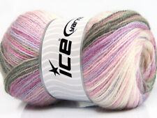 Lot of 4 x 100gr Skeins ICE ANGORA ACTIVE (25% Angora) Yarn Grey Pink Lilac C...