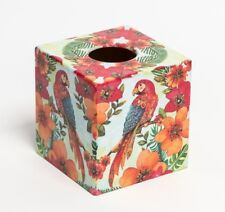 Tropical Parrots Tissue Box Cover wooden handmade decoupaged in UK