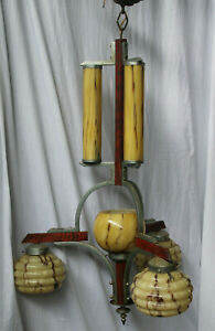 French rare  art deco wood metal glass Chandelier lamp