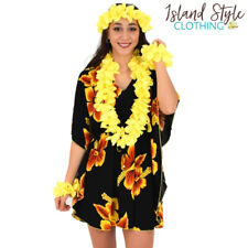 Ladies Kaftan Black & Yellow Hibiscus + Lei Set