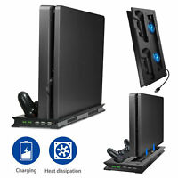 Vertical Stand + Cooling Fan + Dual Controller Charger Dock Station For PS4 Slim