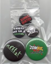 "Set of 5 Zombie badges 3 x 25 mm/1"" + 2 x 45 mm Button Badges"