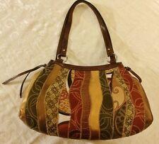 Handbag Brown Tan Multi Strada Large Roomy Shoulder or Carry EUC