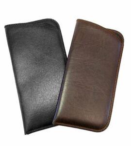 Mens Full Slip Soft Eyeglasses Eyeglass Case Syn.Leather in Solid Black or Brown