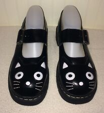 TUK Anarchic Black & White Kitty Cat Shoes US 9 UK 7 Mary Janes Leather Eur 40