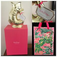"""NWT Lilly Pulitzer 8.5"""" Fish Vase Gold Electroplate Porcelain + LP Box &Gift Bag"""
