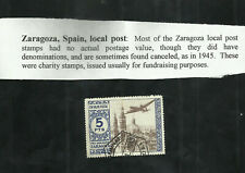 ZARAGOZA SPAIN LOCAL POST USED STAMP 5 PTS CHARITY STAMP CINDERELLA