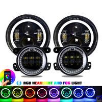 "4PC LED 7"" Headlights + 4 '' Fog Light RGB Combo Kit For Jeep Wrangler JK 07-17"