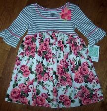 NWT Bonnie Jean Gray/Pink/Ivory ROSES Floral/Striped Dress 5 Girls Bouquets NICE