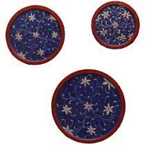 Handmade Wooden Indian Art,Wall Plates,Wall Decor,Wooden Set Of Three Plates