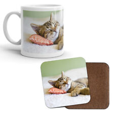 Mug & Coaster Set - Cute Kitten Tabby Cat Mum Sister Aunty Niece Kids Gift #8265