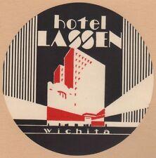 Hotel Etikett Kofferaufkleber / luggage label Art Deco Hotel Lassen Wichita USA
