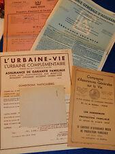 ancien LOT PAPIER dossier COMPAGNIE GENERALE D'ASSURANCES 1947 urbaine vie