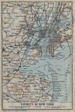 New york city metro area. brooklyn newark jersey city. baedeker 1909 old map