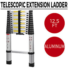 12.5FT Folding Multi Purpose Telescopic Extension Ladder Aluminum Heavy Duty
